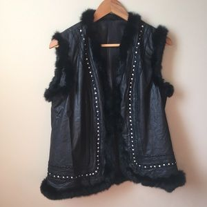 Jackets & Blazers - Pleather & Fur vest